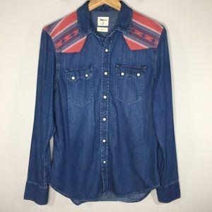 GAP Western Aztec Print Snap Button Denim Shirt M
